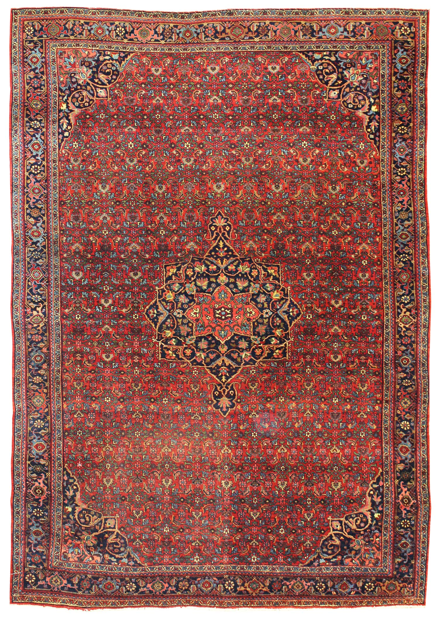 Antique Bijar Handwoven Traditional Rug