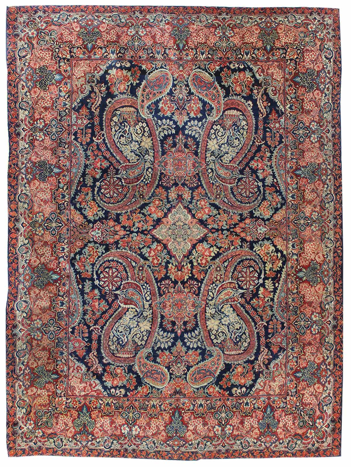 Antique Euro Sarouk Handwoven Traditional Rug
