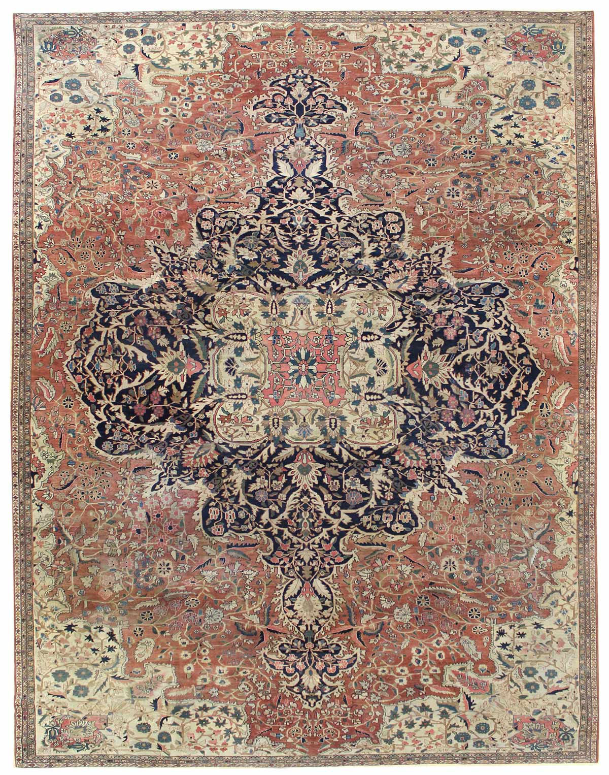 Antique Ferraghan Sarouk Handwoven Traditional Rug
