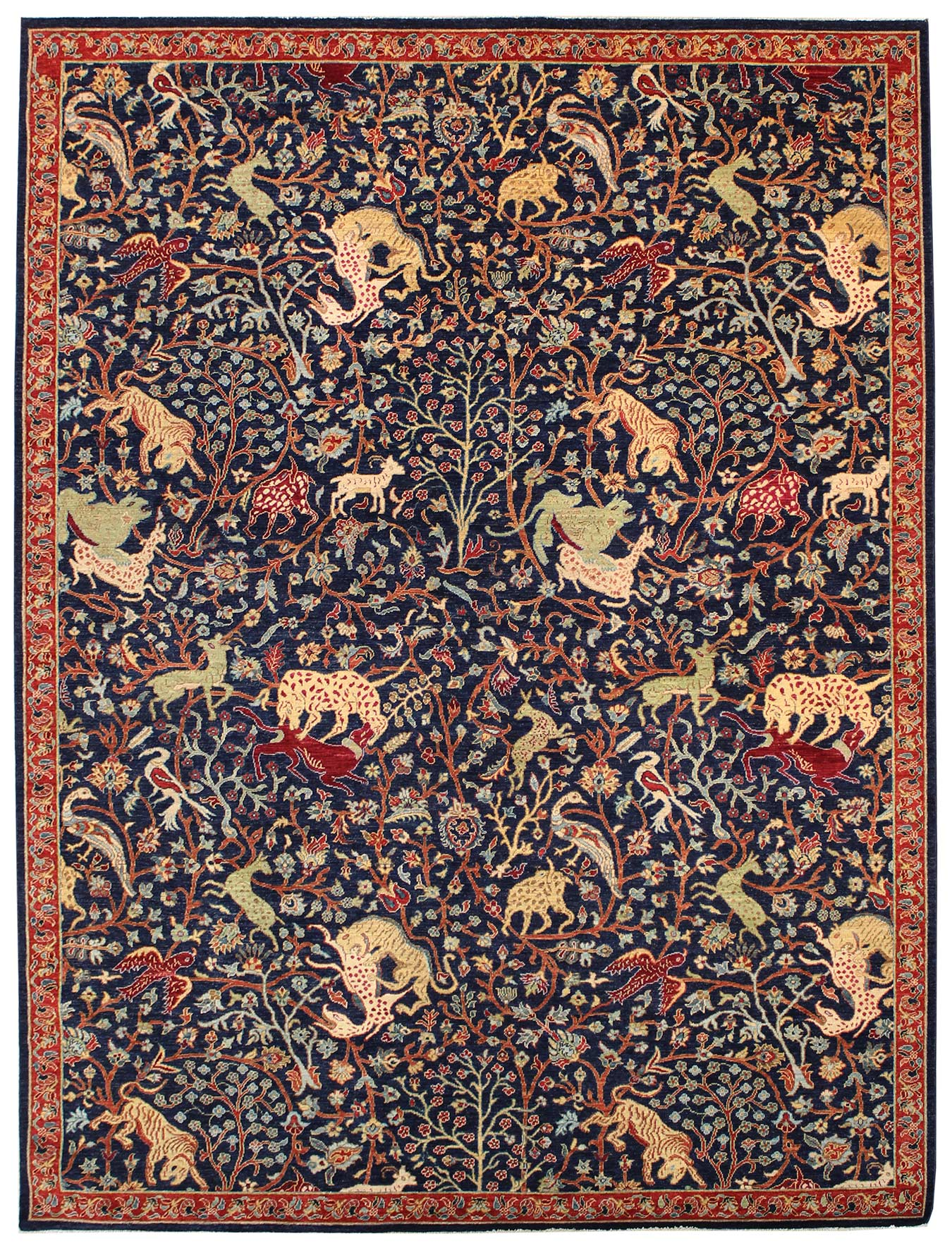 Hunting Tabriz Handwoven Traditional Rug