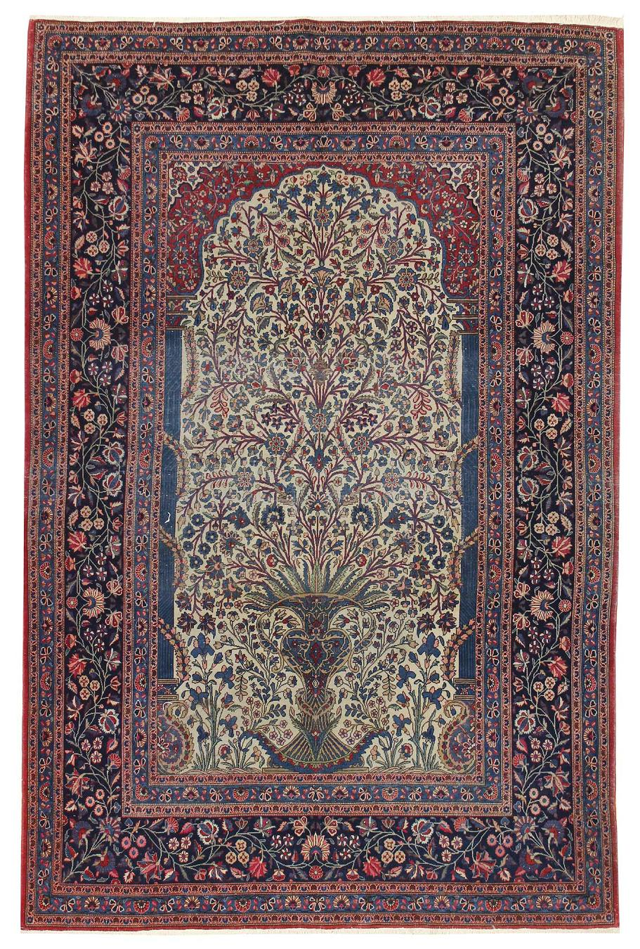 Antique Keshan Handwoven Traditional Rug
