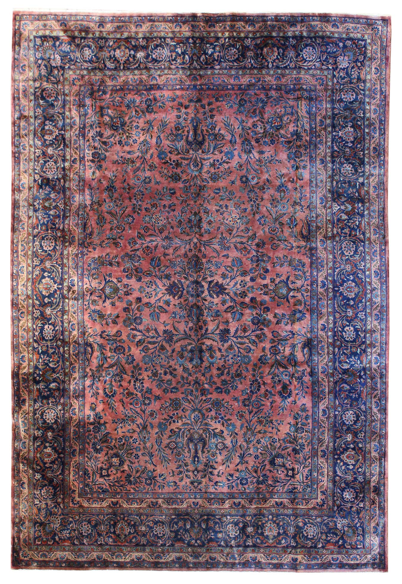 Antique Manchester Kashan Handwoven Traditional Rug