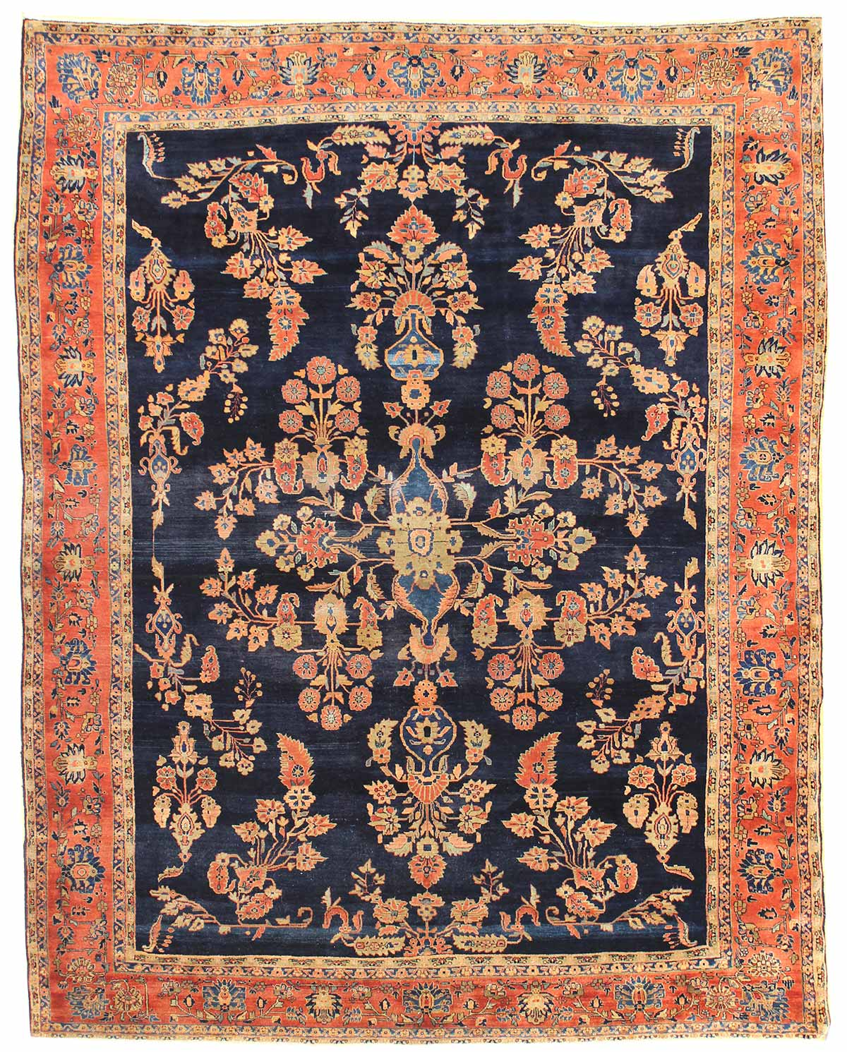 Antique Sarouk Handwoven Traditional Rug