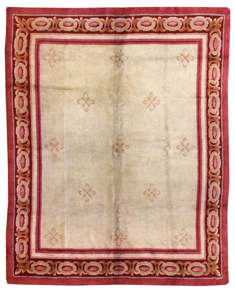 Antique Savonnerie Handwoven Traditional Rug