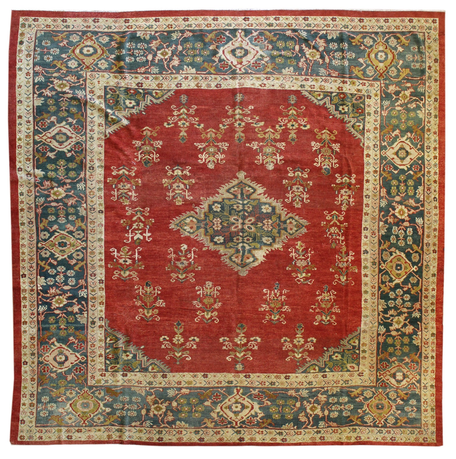 Antique Sultanabad Handwoven Traditional Rug