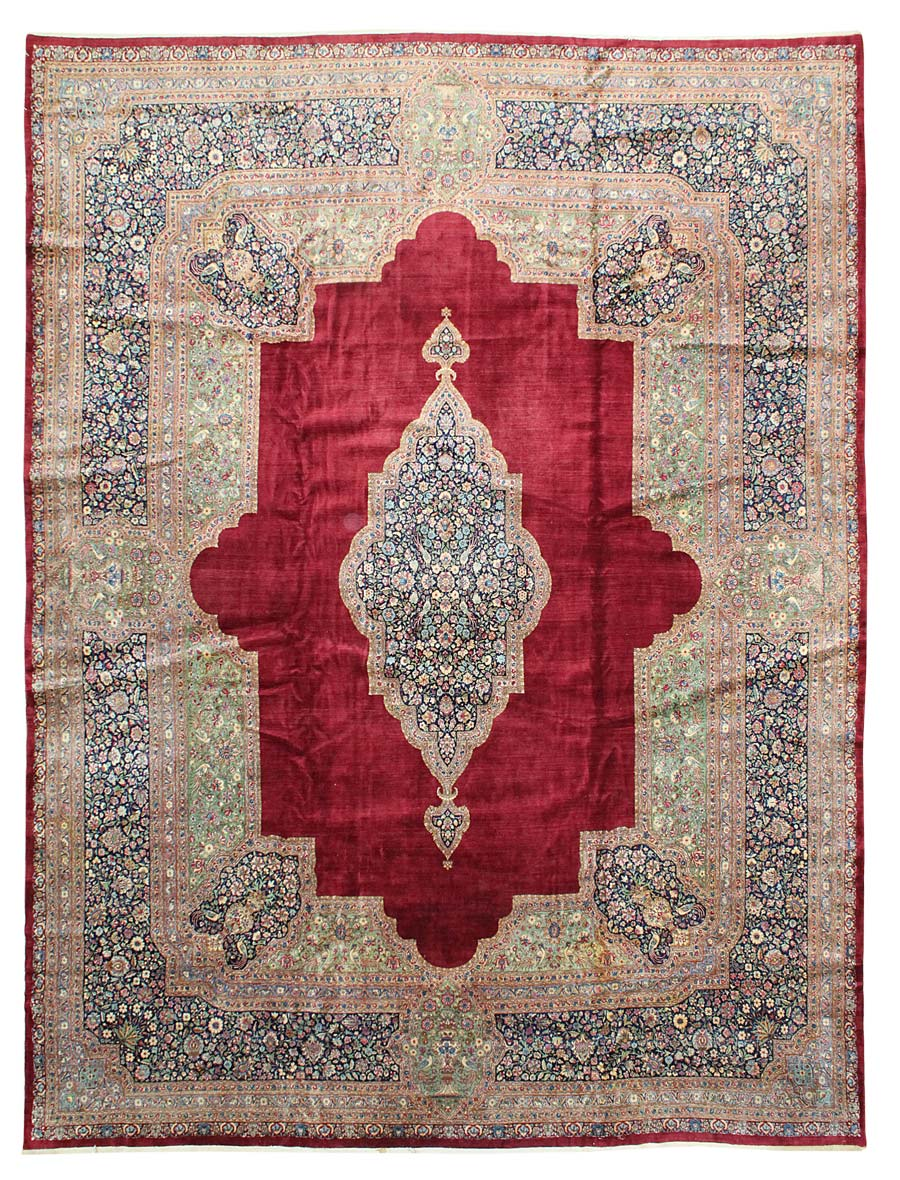 Antique Vase Kerman Handwoven Traditional Rug