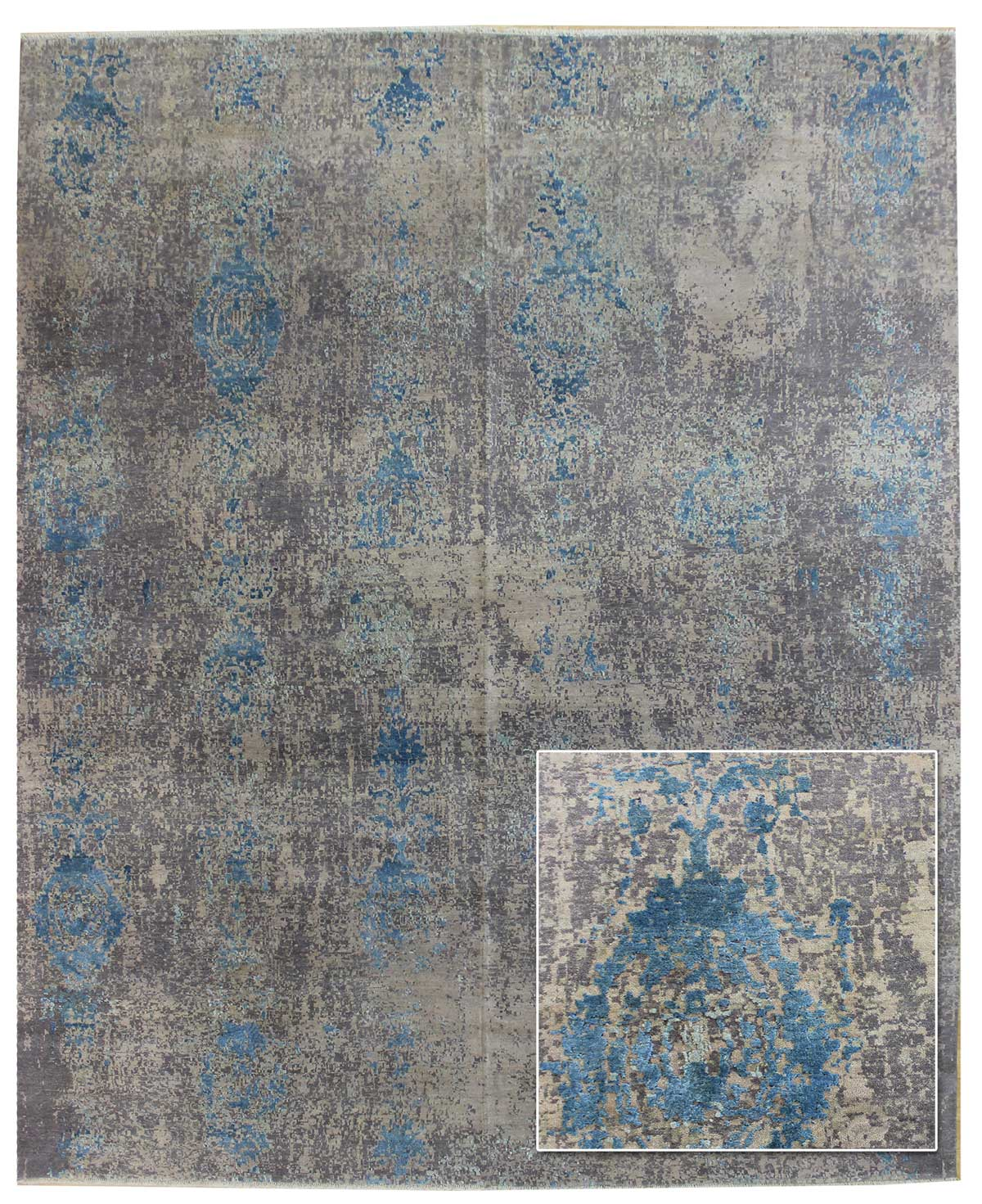 Erased Motif Handwoven Transitional Rug