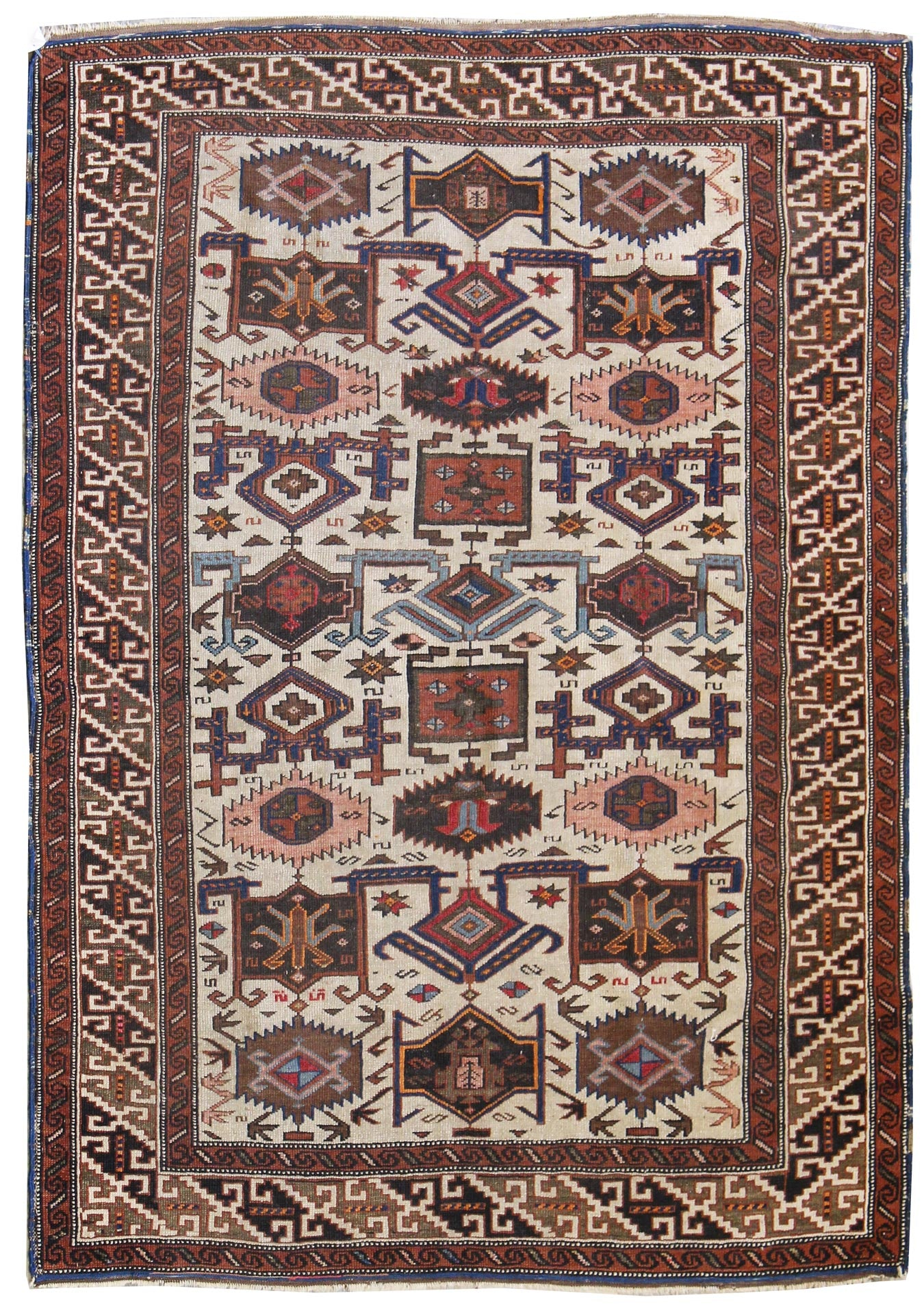 Antique Kuba Handwoven Tribal Rug