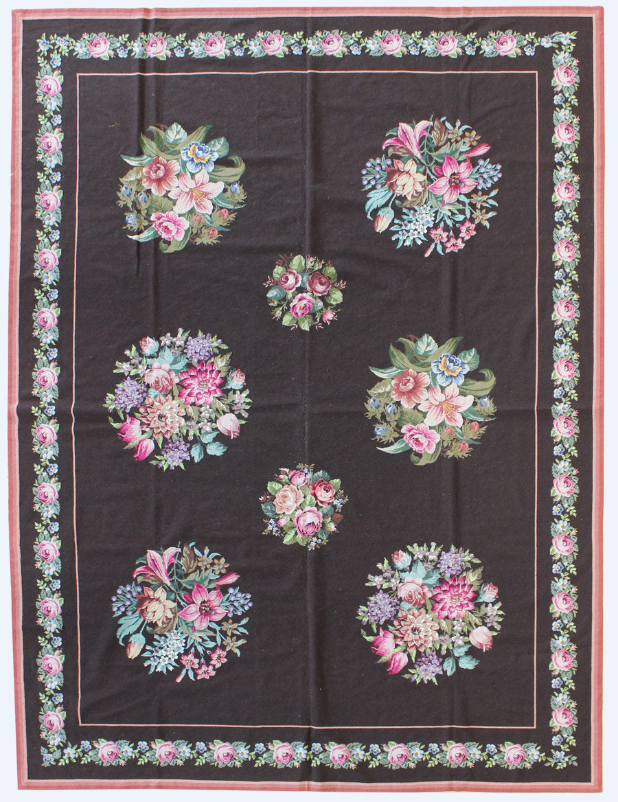 Floral Needlepoint Traditional Rug