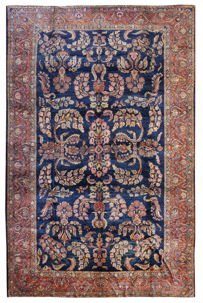 Antique Mahajaran Sarouk Handwoven Traditional Rug