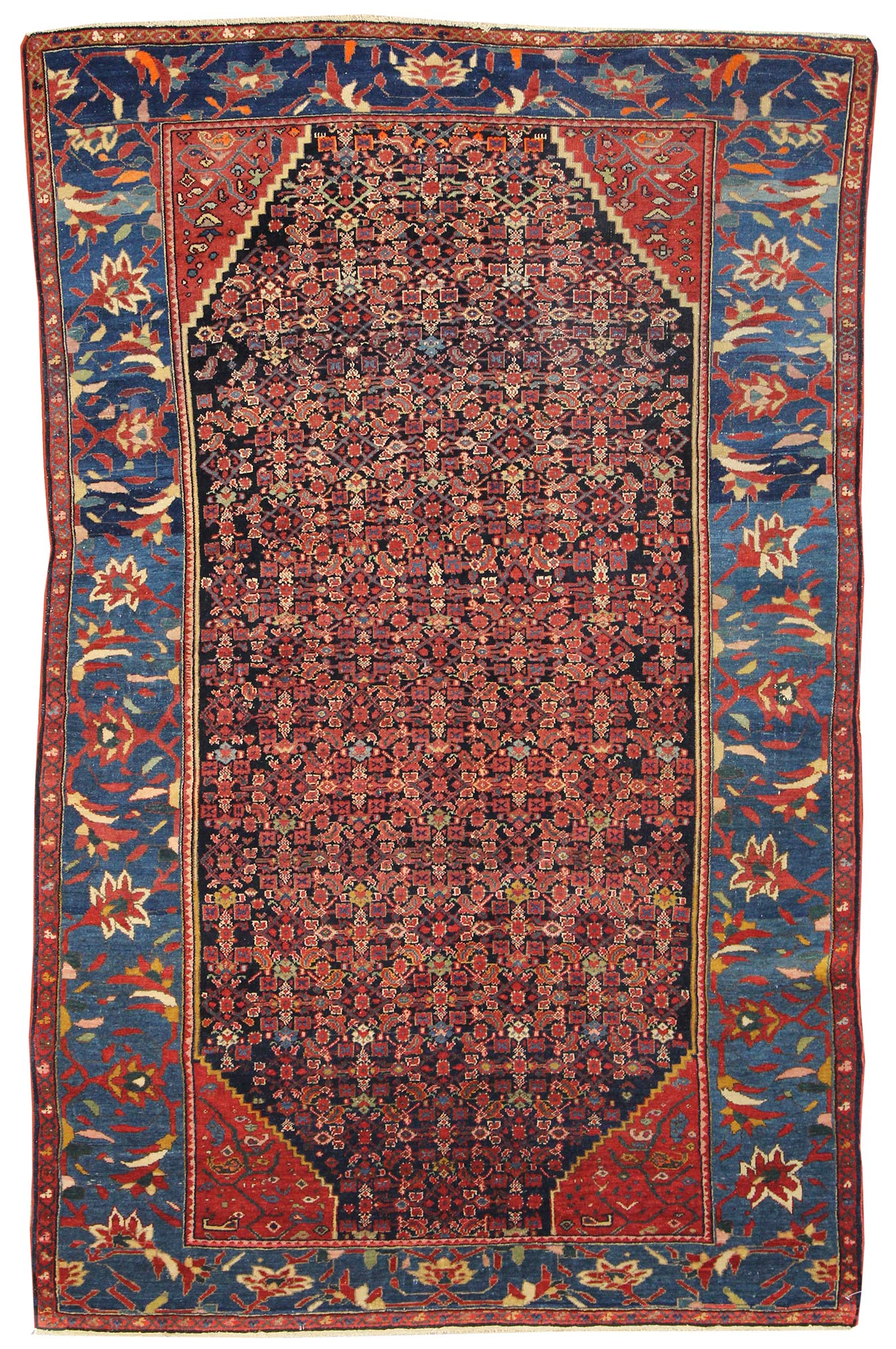 Antique Mission Malayer Handwoven Traditional Rug