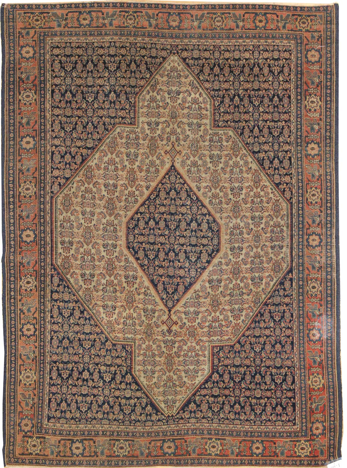 Antique Senneh Handwoven Traditional Rug