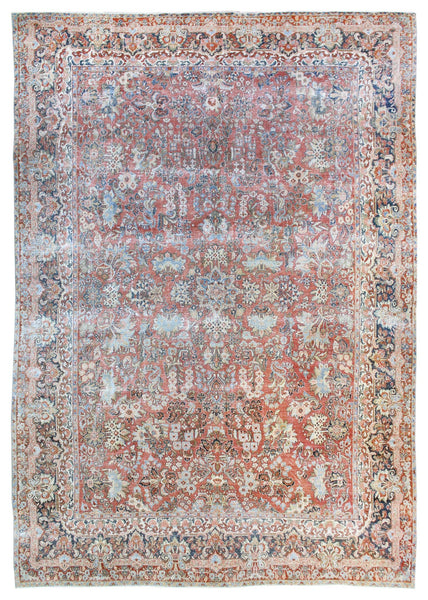 Vintage Sarouk Handwoven Transitional Rug