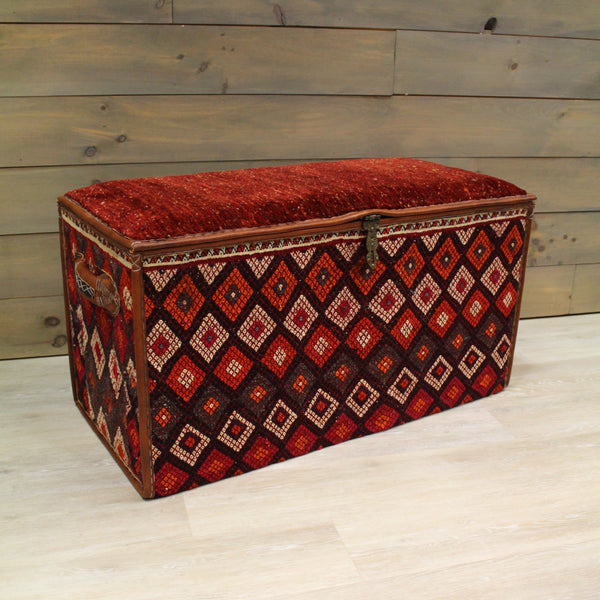 Gabbeh Handwoven Tribal Ottoman Trunk