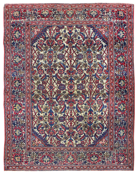 Antique Isphahan Handwoven Tribal Rug