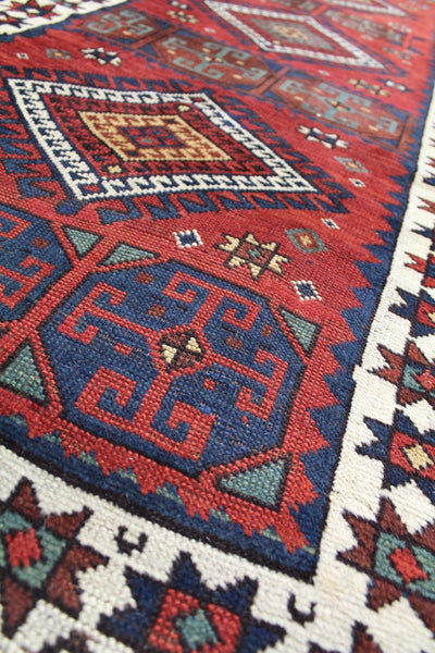 Antique Kazak Handwoven Tribal Rug