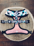 Pink Geometric Dog Harness (Reverse)