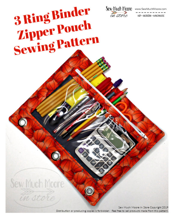 3 Ring Binder Zipper Pouch PDF Pattern
