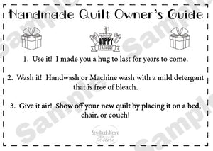 Quilt Care Instructions - Birthday