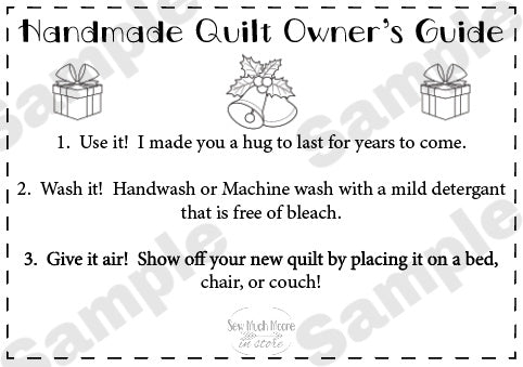 Quilt Care Instructions - Christmas