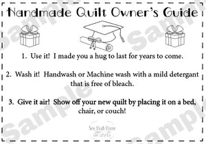 Quilt Care Instructions - Graduation
