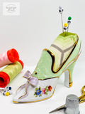 Ceramic Porcelain Green Slipper Pin Cushion