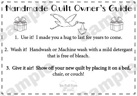 Quilt Care Instructions - New Baby