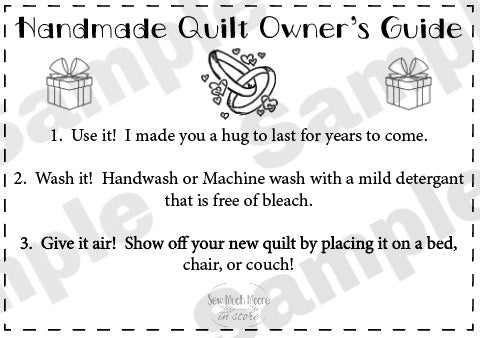 Quilt Care Instructions - Wedding