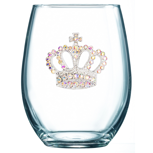 Aurora Borealis Crown Jeweled Stemless Wine Glass