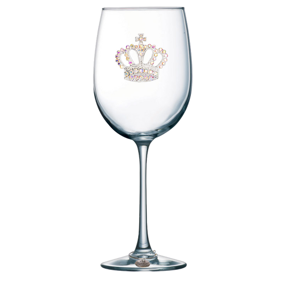 Aurora Borealis Crown Jeweled Stemmed Wine Glass