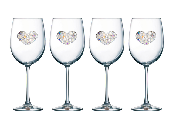 Four Pack of Multiple Stone Jeweled Stemmed Wine Glasses - Save 15%