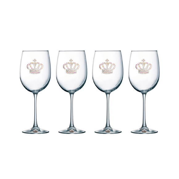 Four Pack of Aurora Borealis Crown Jeweled Stemmed Wine Glasses - Save 15%