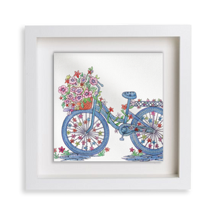 Floral Bicycle Happy Frame