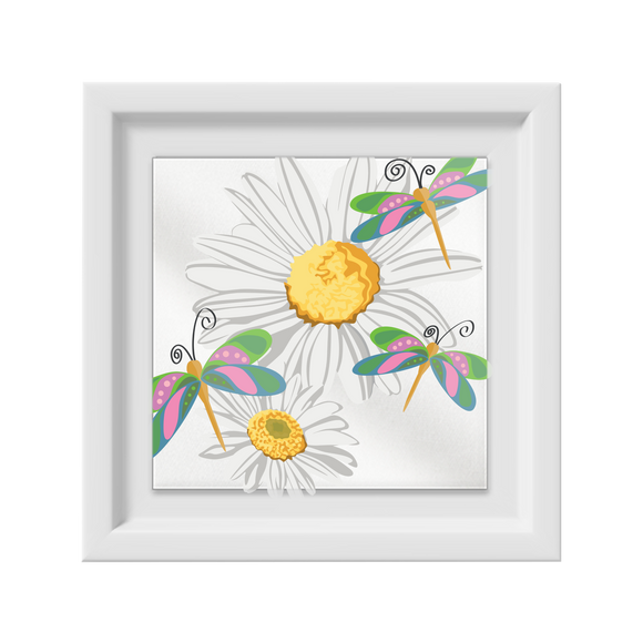 Daisies & Dragonflies Happy Frame