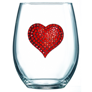 Red Heart Jeweled Stemless Wine Glass