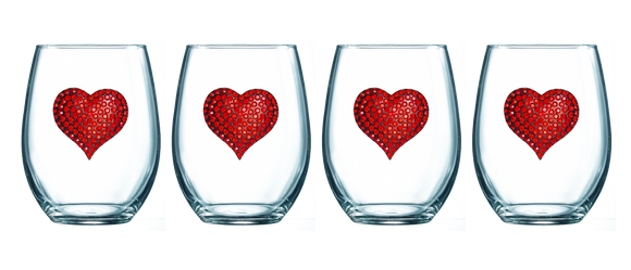 Four Pack of Red Heart Jeweled Stemless Wine Glasses - Save 15%