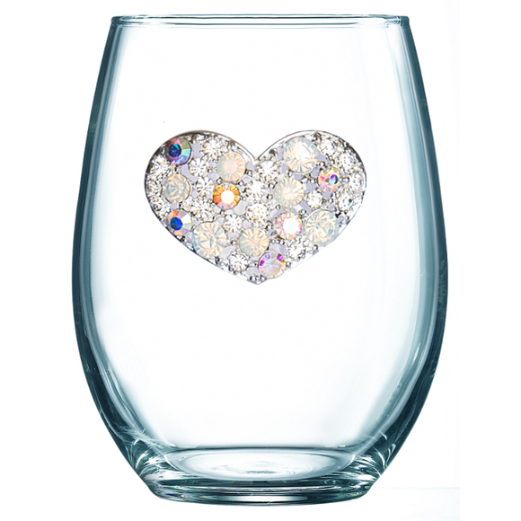 Multiple Stone Heart Jeweled Stemless Wine Glass