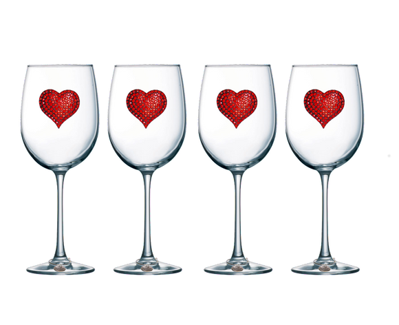 Four Pack of Red Heart Jeweled Stemmed Wine Glasses - Save 15%