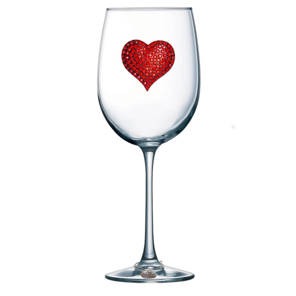 Red Heart Stemmed Wine Glass