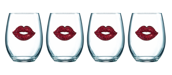 Four Pack of Red Lip Jeweled Stemless Wine Glasses - Save 15%