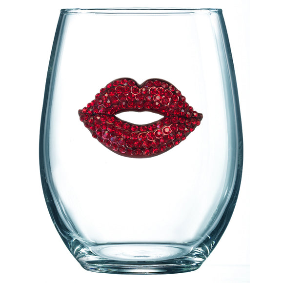 Red Lip Jeweled Stemless Wine Glass