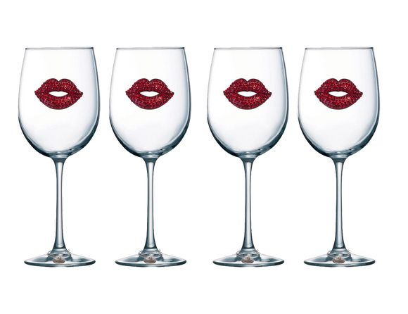 Four Pack of Red Lip Jeweled Stemmed Wine Glasses - Save 15%