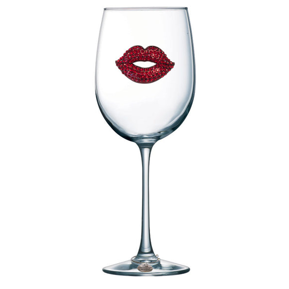 Red Lip Stemmed Wine Glass