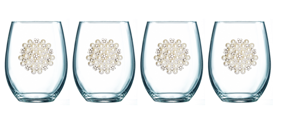 Four Pack of Round Pearl Jeweled Stemless Wine Glasses - Save 15%