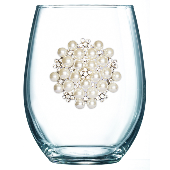 Round Pearl Jeweled Stemless Wine Glass