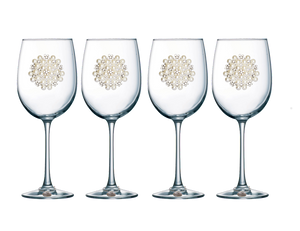 Four Pack of Round Pearl Jeweled Stemmed Wine Glasses - Save 15%