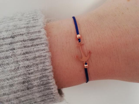 Armband Anker Rose Gold Royalblau