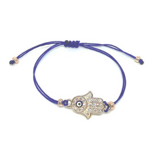 Laden Sie das Bild in den Galerie-Viewer, Armband Hamsa Hand Royalblau