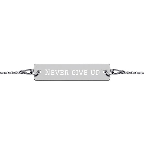 Armband mit Gravur Never give up Schwarz