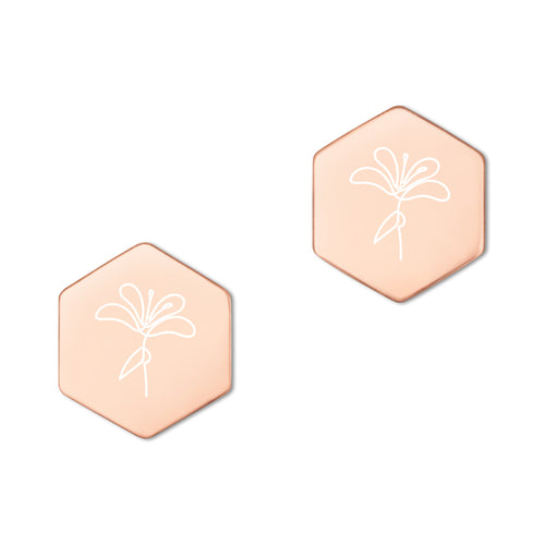 Gravierte Ohrringe, Blume Rose Gold